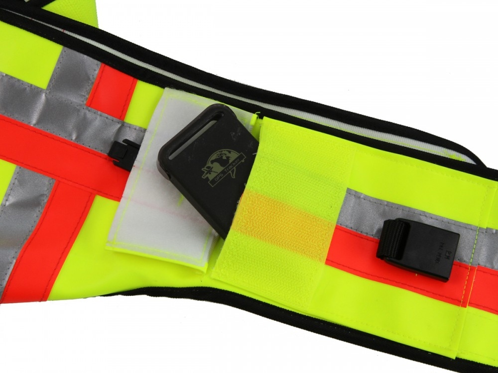 Signaalvest Gummyflex met GPS  Vakje Geel